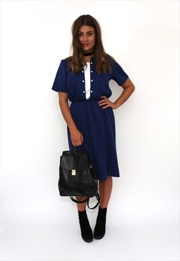 Vintage 80s Navy White T-Shirt Midi Dress