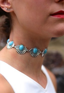 Silver Turquoise Gemstone Metal Choker Necklace