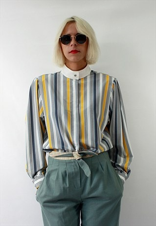 VINTAGE 80'S SHIRT WITH STAND-UP COLLAR AND HIDDEN BUTTONS