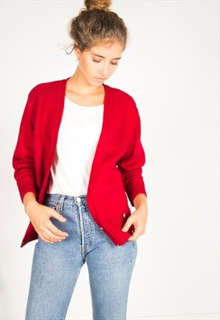 VINTAGE 80S CASUAL KNIT CARDIGAN / R02775