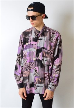 Vintage 80s Colourful Abstract Long Sleeve Shirt
