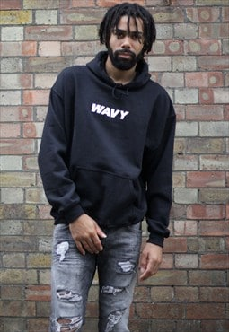 NEW IN - WAVY Retro Fit Black Hoodie