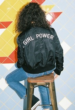 Girl Power Embroidered Bomber Jacket