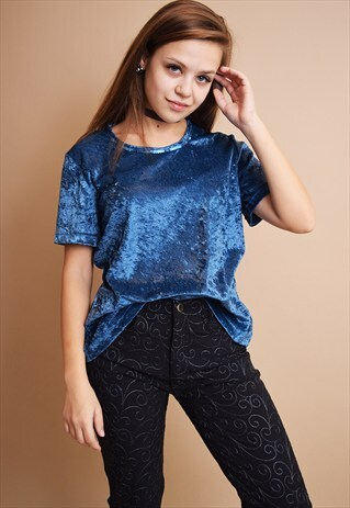 CUTE VINTAGE 90'S RETRO VELVET LOOSE-FITTED BLOUSE TOP