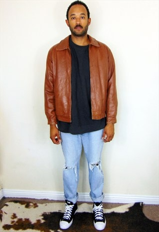90S MINIMALIST BROWN LEATHER FLIGHT BOMBER JACKET MEDIUM