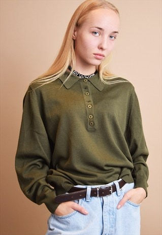 90'S RETRO MINIMALIST KHAKI OVERSIZED DADS JUMPER TOP