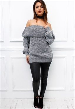 Womens Ladies Grey Off Shoulder Bardot Chunky Knit Jumper