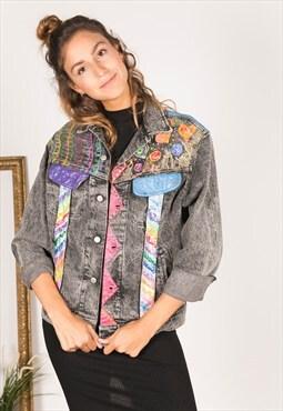 Vintage 80s Embellished Lee denim jacket / R152
