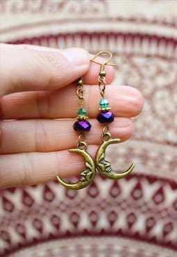Handmade Crystal Crescent Moon Earrings
