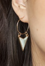 Turquoise arrow hoop earrings
