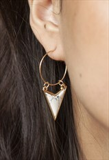 White marble arrow hoop earrings