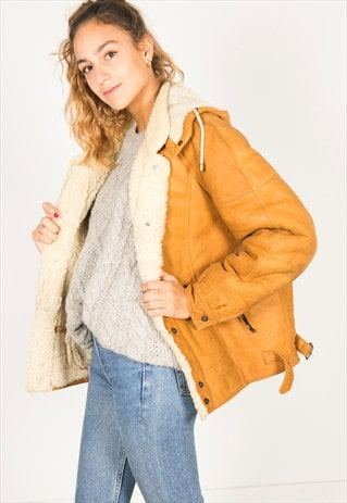 VINTAGE 80S WINTER SHEEPSKIN COAT / R033