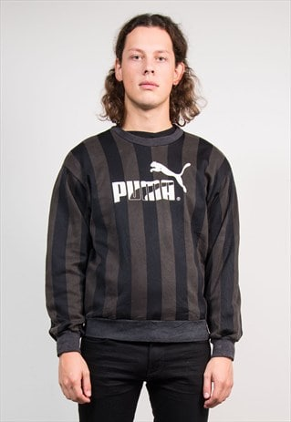 90'S VINTAGE BLACK STRIPED PUMA SWEATSHIRT JUMPER