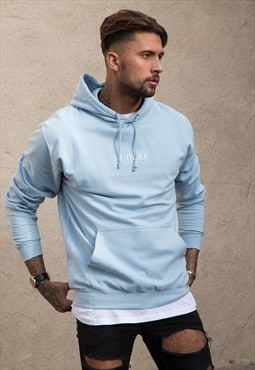 Light Blue Hoodie White Print
