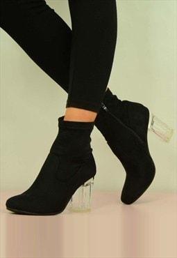 Black suede clear block heel boots
