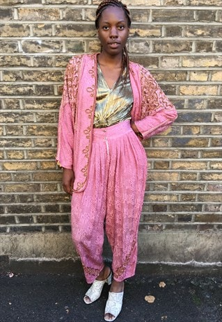 1980'S PINK ETHNIC TWO PIECE