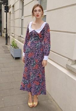 Vintage QUAD Pscych Print Maxi Dress
