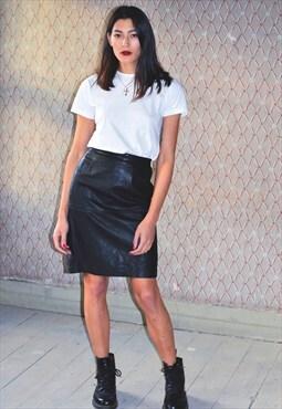 Vintage 90s leather pencil skirt