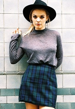 'Edie' Green Tartan Mini Skirt