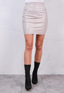 Leather Look Mini Bodycon Skirt Grey