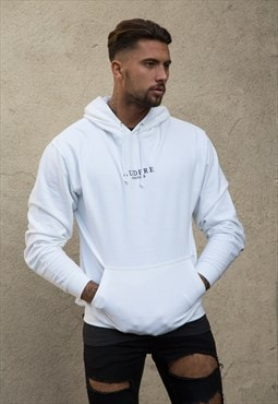 White Embroidered Hoodie