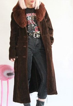 Vintage 70s Brown Suede Shearling Collar Coat