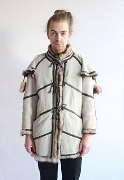 Vintage 80's Grey Sheepskin Coat