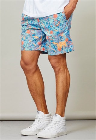 VINTAGE 90'S MULTICOLOURED CRAZY PRINT KAPPA SPORT SHORTS