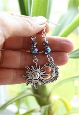 Handmade Silver Mismatch Celestial Earrings Sun Moon