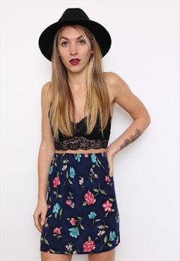 Vintage 80s Dark Floral Mini Skirt