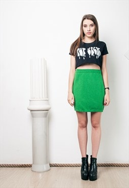 90s vintage supergreen knit skirt