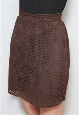 Vintage 1970's Soft Brown Suede Cut Out Mini Skirt