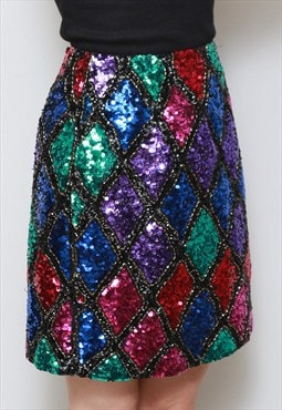 Vintage 1970's Sparkly Multi Coloured Silk Sequin Mini Skirt