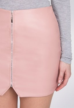 Blush Zip Front Faux Leather Asymmetric Short Mini Skirt
