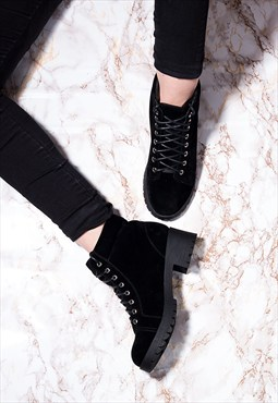 BLUEFIN Lace Up Cleated Sole Block Heel Walking Ankle Boots