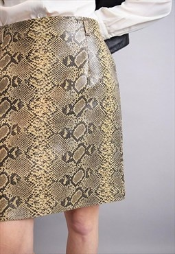 90's retro snakeskin faux leather shimmer mini skirt