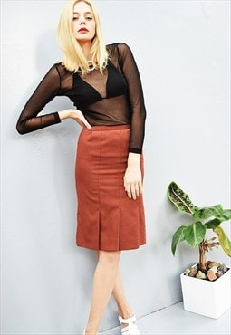 70's retro minimalist terracotta classy geometric mini skirt