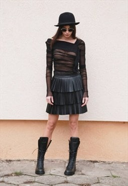 Layer Skirt/Black Leather Skirt/Ruffled/Extravagant/F1564