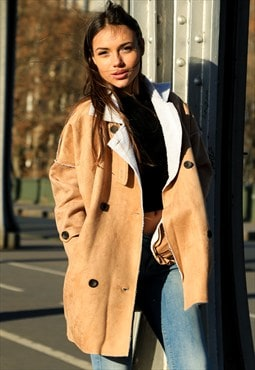 Oversized Faux Suede Shearling Coat