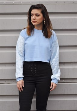 90's baby blue crushed velvet sleeve crop jumper