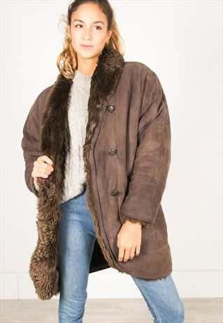 VINTAGE 80S WINTER SHEEPSKIN COAT / R055