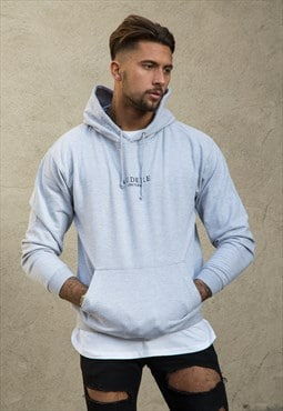 Grey Embroidered Hoodie