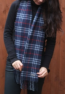 Vintage Lambswool Checked Scarf Navy
