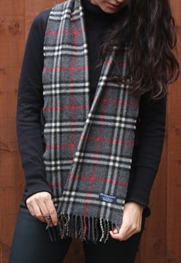 Vintage Burberry Lambswool Checked Scarf DarkGrey