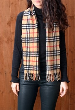 Vintage Burberry Cashmere Checked Scarf Brown