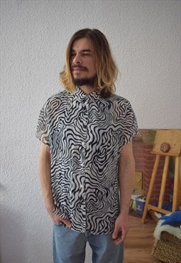 Vintage 70s Vibe Psychedelic Patterned Black/White Shirt