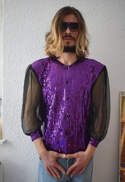 Vintage Purple Sequin Glam Shirt w/ Puffy Sleeves