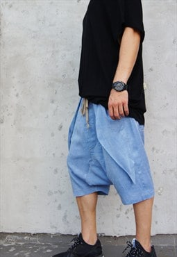 New Denim Like Loose Casual Drop Crotch Harem Pants B05462M