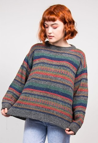 VINTAGE 90'S MULTICOLOUR STRIPE KNIT JUMPER
