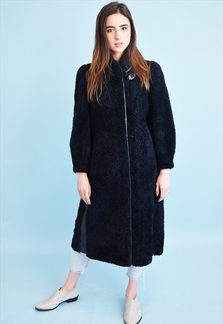 VINTAGE 70'S RETRO OVERSIZED FAUX FUR SHEARLING NAVY COAT